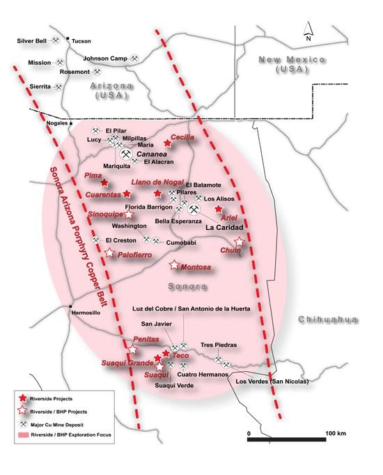 BHP y Riverside aumentan exploración de cobre en Sonora