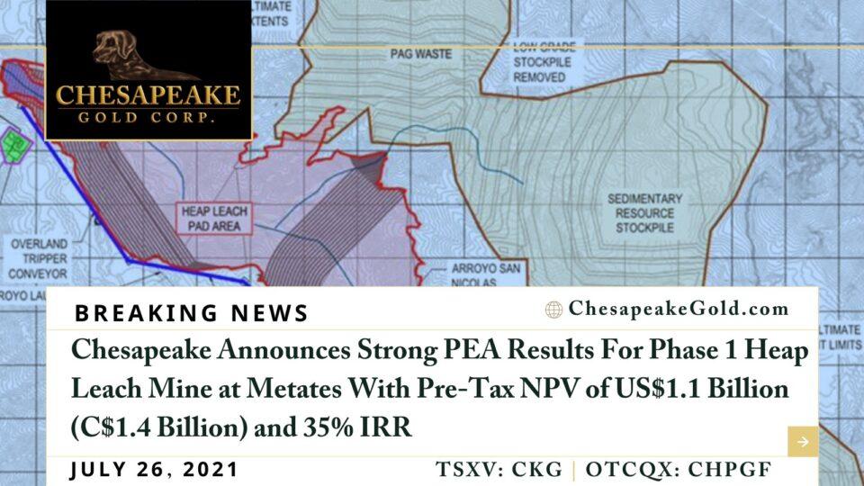Chesapeake Gold anuncia sólidos resultados en Metates en Durango